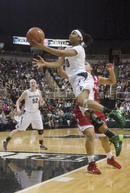 Michigan State's Agee Branndais jumps for a shot against Indiana during an NCAA college basketball game Sunday, March 2, 2014, in East Lansing, Mich. Michigan State won 76-56