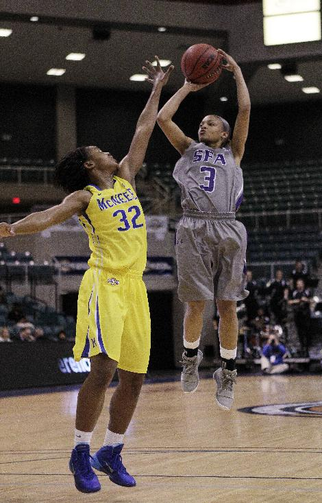Stephen F. Austin's Kali Jerrell (3) shoots over McNeese State's Arianna James (32) during the first half of an NCAA college basketball game in the semifinal round of the Southland Conference tournament Saturday, March 15, 2014, in Katy, Texas