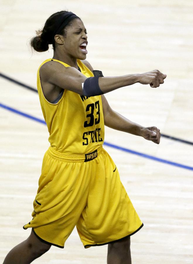 Wichita State's Michelle Price celebrates near the end of an NCAA college basketball game against Drake in the championship of the Missouri Valley Conference tournament Sunday, March 16, 2014, in St. Charles, Mo. Wichita State won 73-49