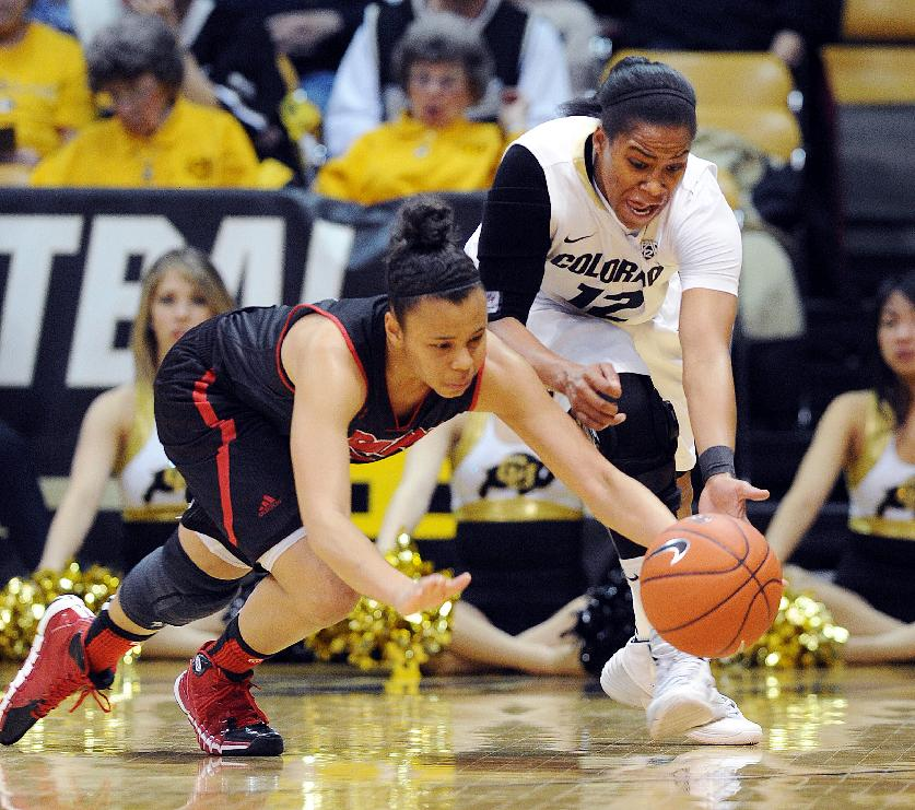 Southern Utah's Desiree Jackson, left, and Colorado's Ashley Wilson go to the floor to get the ball during the first half of a WNIT basketball game on Saturday, March 22, 2014, in Boulder, Colo