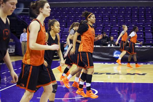 The Oregon State NCAA college women's basketball team practices, Saturday, March 22, 2014, at Alaska Airlines Arena in Seattle. Oregon State is scheduled to play a first-round game against Middle Tennessee on Sunday