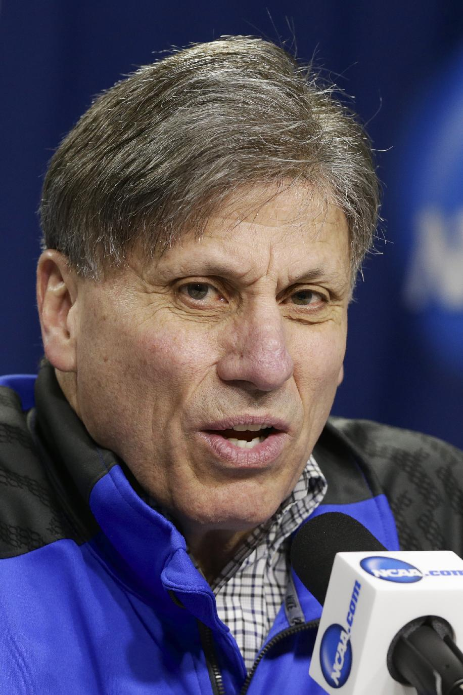 DePaul coach Doug Bruno answers a question during a news conference in Lincoln, Neb., Friday, March 28, 2014. DePaul will play Texas A&M in an NCAA women's basketball tournament regional semifinal on Saturday