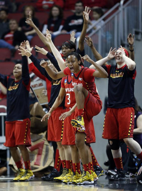 Maryland guard Shatori Walker-Kimbrough (32) and the bench reacts after a 3-point basket during the first half of a regional semifinal game against Tennessee at the NCAA college basketball tournament on Sunday, March 30, 2014, in Louisville, Ky