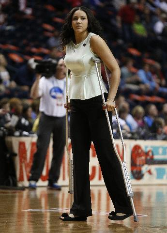 Notre Dame's Natalie Achonwa walks the court before the first half of the championship game against Maryland in the Final Four of the NCAA women's college basketball tournament, Sunday, April 6, 2014, in Nashville, Tenn
