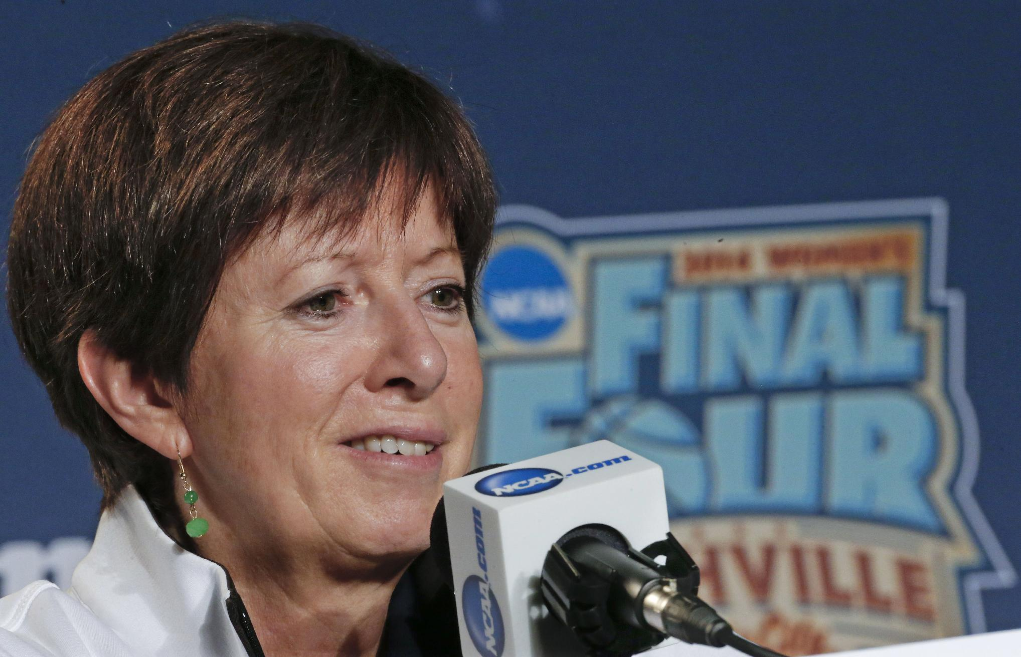 Notre Dame head coach Muffet McGraw answers questions during a news conference at the NCAA women's Final Four college basketball tournament Monday, April 7, 2014, in Nashville, Tenn. Notre Dame is scheduled to face Connecticut in the championship game Tuesday
