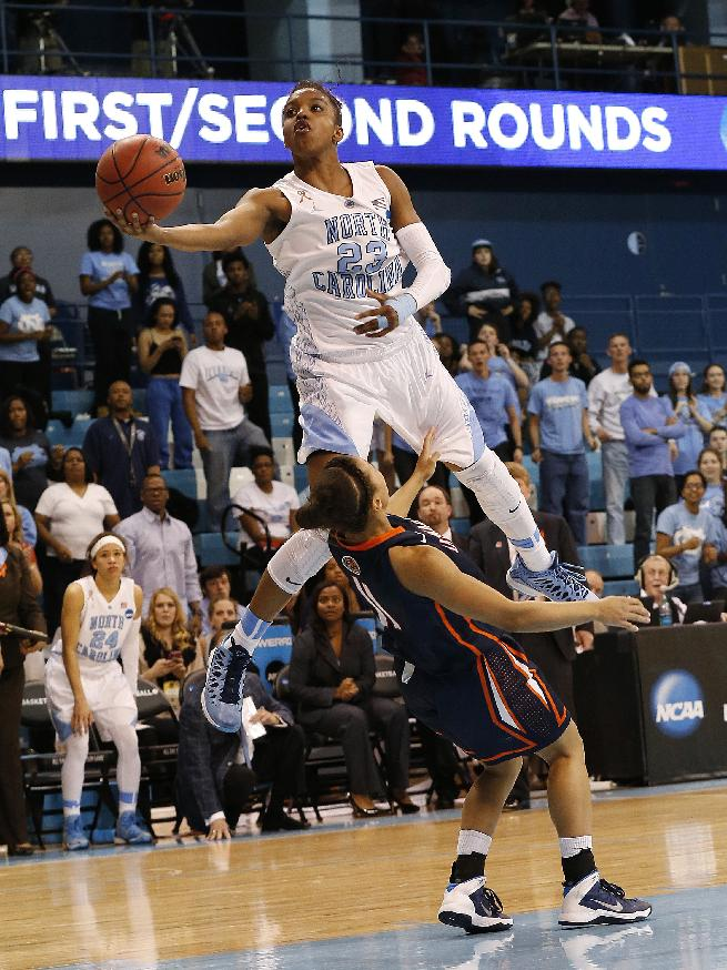 In this March 23, 2014 file photo, Diamond DeShields goes to the basket against UT-Martin's Heather Butler during the second half of a first-round game of the NCAA college basketball tournament in Chapel Hill, N.C. North Carolina coach Sylvia Hatchell says star freshman Diamond DeShields plans to transfer. In a statement Thursday, April 17, 2014, Hatchell says she doesn't know