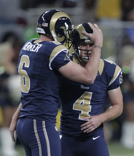 Greg Zuerlein (4) is congratulated after kicking a 60-yard field goal against the Cardinals in Week 5. (AP)