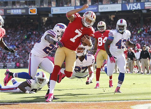 Colin Kaepernick scores a TD vs. the Bills in Week 5. (AP)