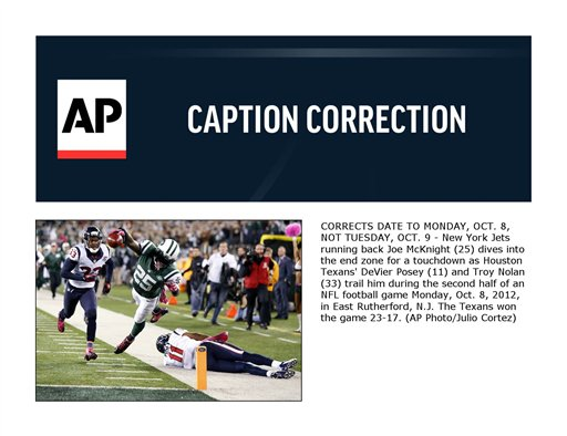 CORRECTION Texans Jets Football
