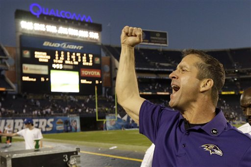 John Harbaugh celebrates after his team defeated the Chargers. (AP)