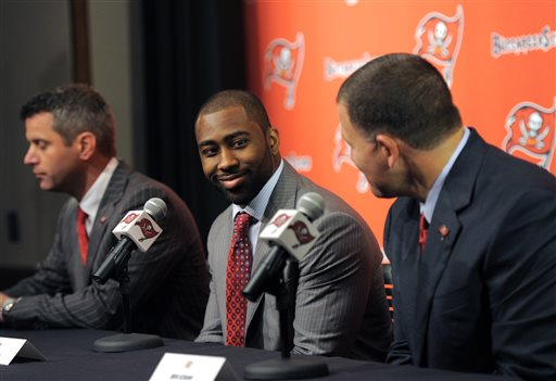 Darrelle Revis was introduced by the Bucs Monday. (AP)