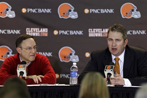 Cleveland Browns head coach Rob Chudzinski, right, discusses the first round of the NFL draft with CEO Joe Banner at the football team's practice facility in Berea, Ohio, Thursday, April 25, 2013. The Browns took LSU linebacker Barkevious Mingo as their sixth overall pick