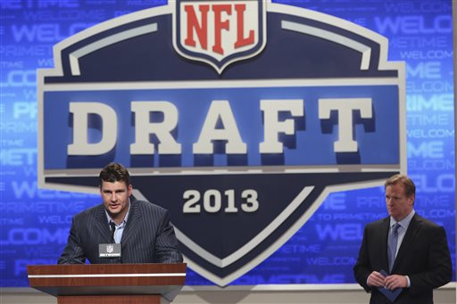 Former Buffalo Bills defensive end Chris Kelsay announces a draft pick during the second round of the NFL Draft, Friday, April 26, 2013 at Radio City Music Hall in New York.