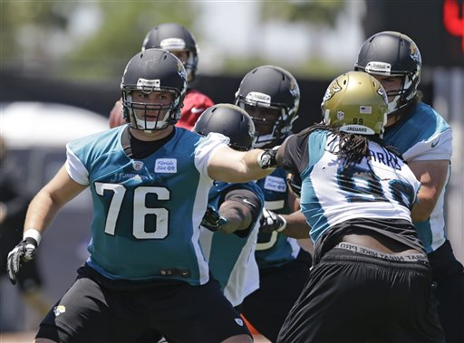 Jacksonville Jaguars tackle Luke Joeckel (76) blocks defensive tackle Sen'Derrick Marks (99) during NFL football organized team activities, Monday, May 13, 2013, in Jacksonville, Fla