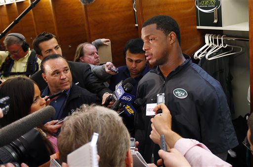 New York Jets' defensive end Quinton Coples talks to reporters during a locker room availability at their practice facility in Florham Park, N.J., Thursday, May 16, 2013
