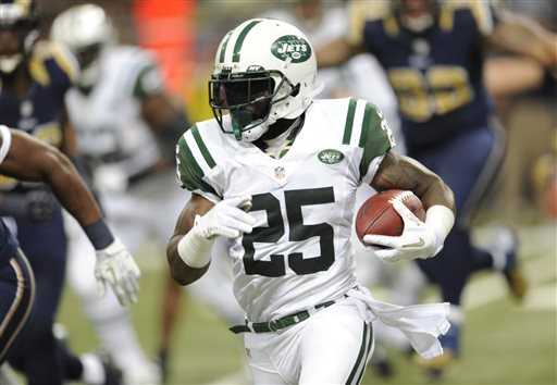 FILE- In this Nov. 18, 2012, file photo, New York Jets running back Joe McKnight runs with the ball during the second quarter of an NFL football game against the St. Louis Rams in St. Louis. McKnight was fired up when he was asked by a reporter if he could soon be out the door since New York, which allowed Shonn Greene to leave as a free agent, has McKnight, Chris Ivory, Mike Goodson, Bilal Powell and John Griffin as running backs on the roster
