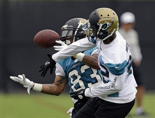 Jacksonville Jaguars wide receiver Tobais Palmer (83) catches under pressure from defensive back Antwon Blake, right, to break up the play during NFL football organized training activities, Monday, May 20, 2013, in Jacksonville, Fla