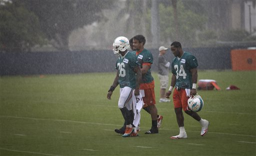 Miami Dolphins players Lamar Mille (26), Dustin Keller and Marcus Thigpen (34) walk off the field in the rain after NFL football training camp in Davie, Fla. Tuesday, May 21, 2013