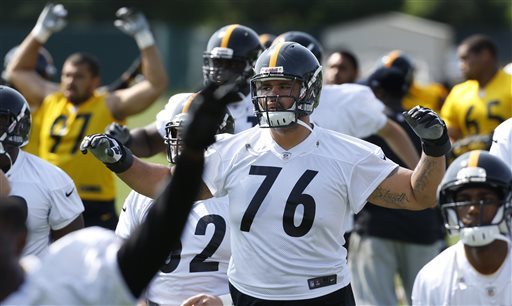 Pittsburgh Steelers offensive tackle Mike Adams (76) warms up during NFL football practice, Wednesday, May 22, 2013, in Pittsburgh