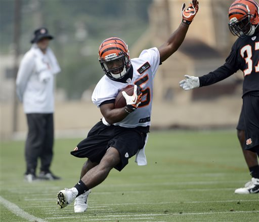 In this May 21, 2013, file photo, Cincinnati Bengals rookie running back Giovani Bernard carries the ball during an NFL football practice at Paul Brown Stadium in Cincinnati, Ohio. The Bengals have signed Bernard on Friday, may 24, 2013,, leaving only one of their 10 draft picks without a deal