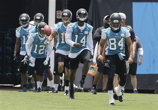Jacksonville Jaguars players including Cecil Shorts (84),  Justin Blackmon (14) and Mike Brown (12) warm up during NFL football minicamp, Wednesday, June 12, 2013, in Jacksonville, Fla
