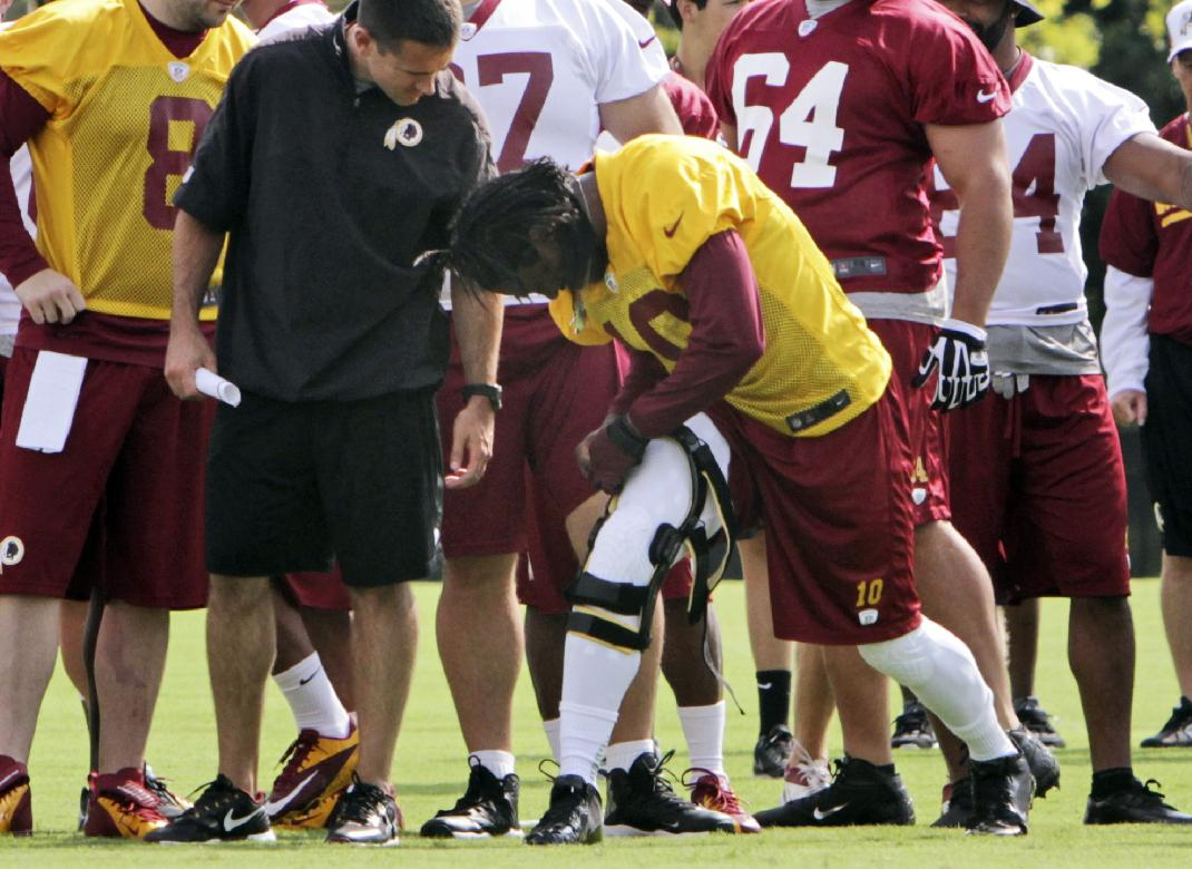 Robert Griffin III adjusts his knee brace Thursday. (AP)
