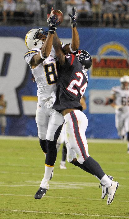 San Diego Chargers wide receiver Malcom Floyd hauls in a pass under pressure by Houston Texans cornerback Johnathan Joseph during the second half of an NFL football game Monday, Sept. 9, 2013, in San Diego