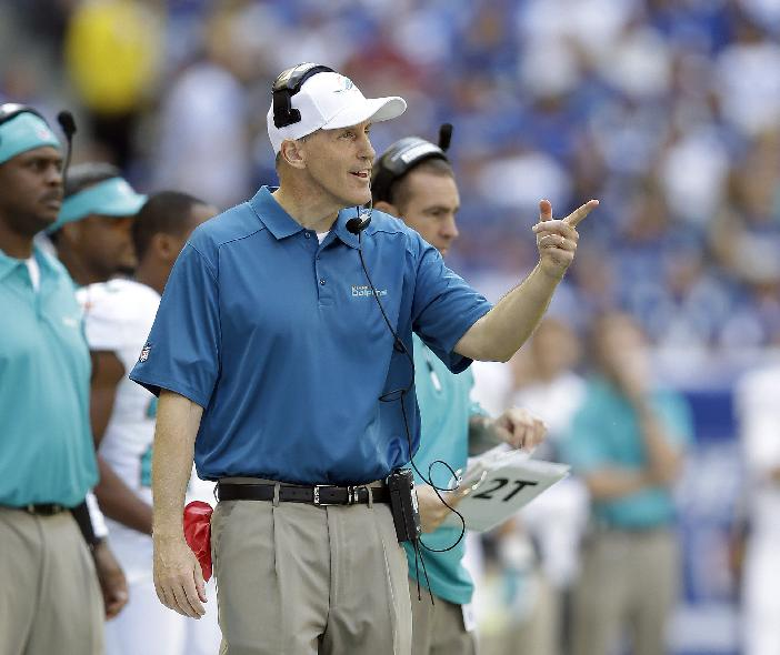 Miami Dolphins head coach Joe Philbin talks to his players during the first half an NFL football game against the Indianapolis Colts Sunday, Sept. 15, 2013, in Indianapolis