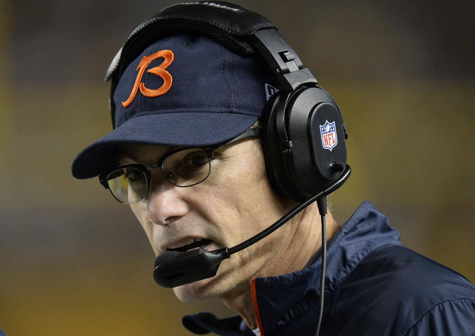 Chicago Bears head coach Marc Trestman on the sideline during the third quarter of an NFL football game against the Pittsburgh Steelers  on Sunday, Sept. 22, 2013, in Pittsburgh. The Bears won 40-23