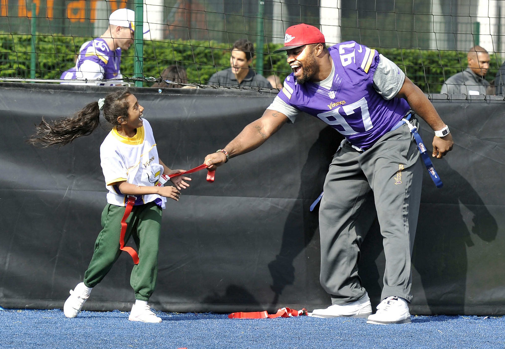 Everson Griffen of the Vikings takes part in a coaching clinic with London children near Wembley Stadium, London, Tuesday Sept. 24, 2013. The Pittsburgh Steelers are to play the Minnesota Vikings in the NFL International Series at Wembley Stadium in London on Sunday, Sept 29