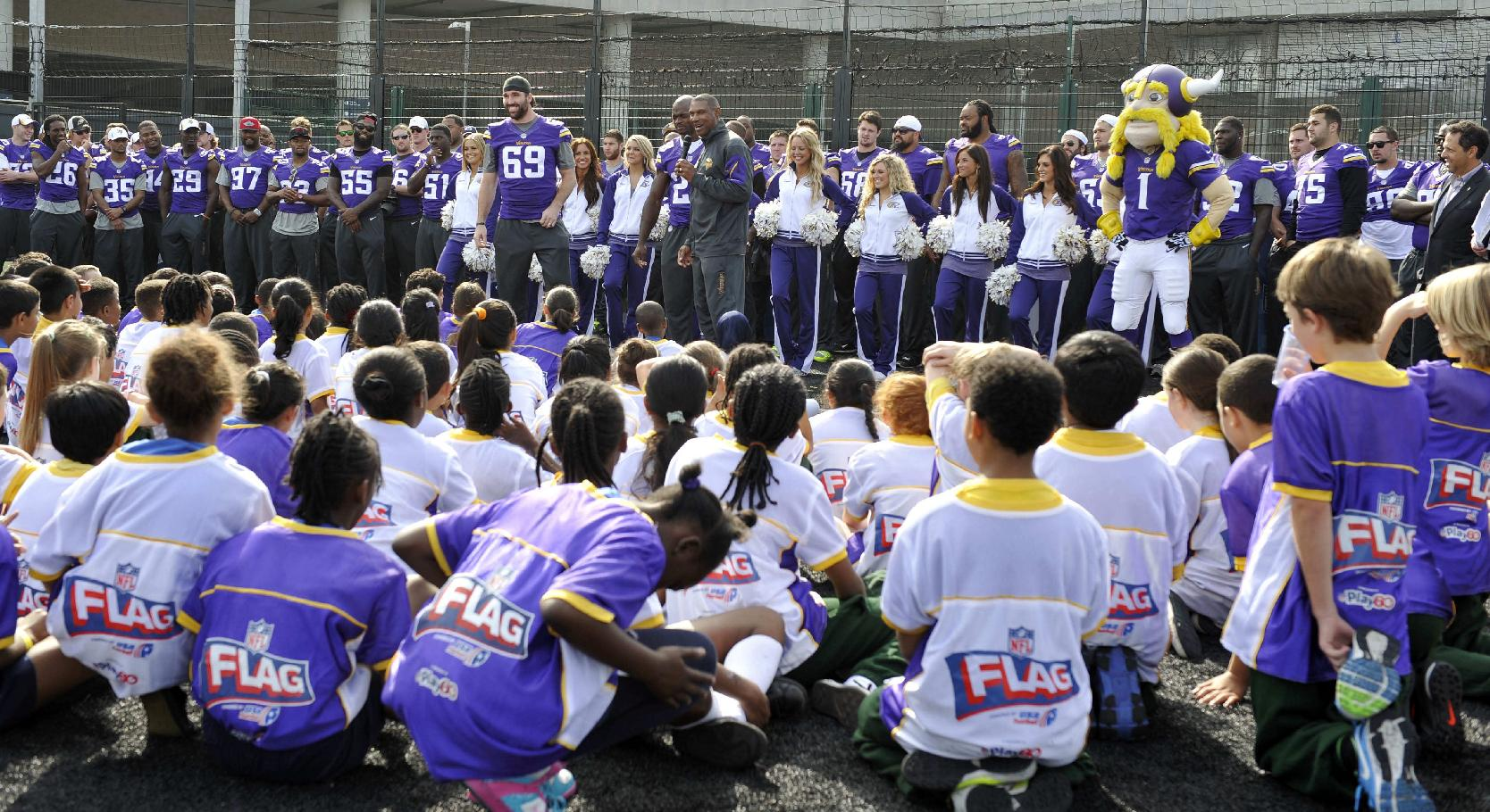 Head coach of the Vikings Leslie Frazier addresses the children during a coaching clinic with London children near Wembley Stadium, London, Tuesday Sept. 24, 2013. The Pittsburgh Steelers are to play the Minnesota Vikings in the NFL International Series at Wembley Stadium in London on Sunday, Sept 29