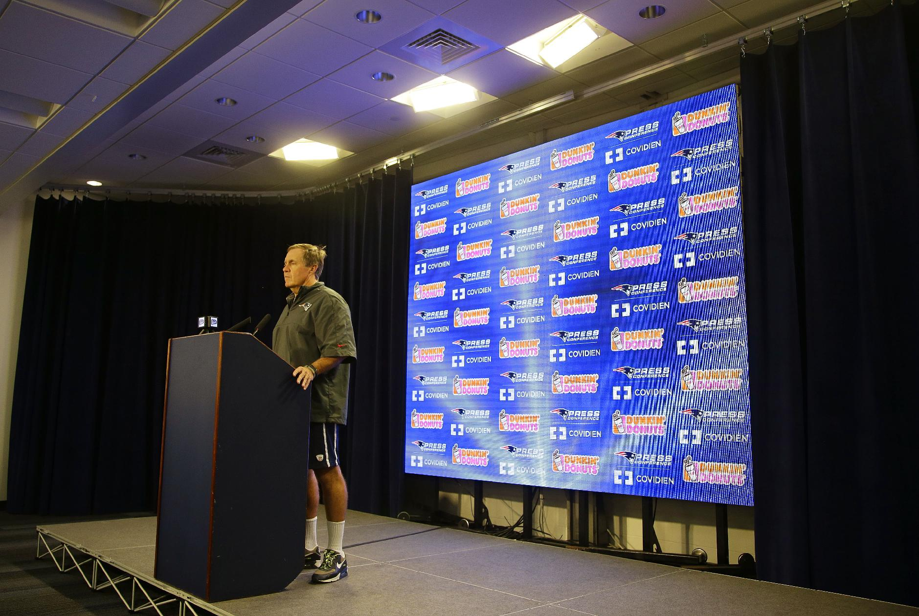 New England Patriots head coach Bill Belichick listens to a reporter's question during a media availability at the NFL football team's facility in  Foxborough, Mass., Wednesday, Oct. 2, 2013