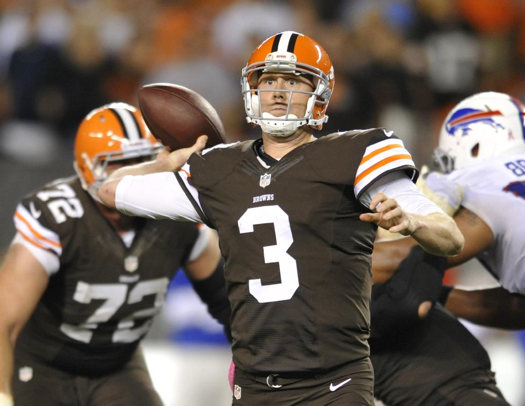 Cleveland Browns quarterback Brandon Weeden passes against the Buffalo Bills in the fourth quarter of an NFL football game Thursday, Oct. 3, 2013, in Cleveland. Weeden took over for starter Brian Hoyer who was injured in the first quarter