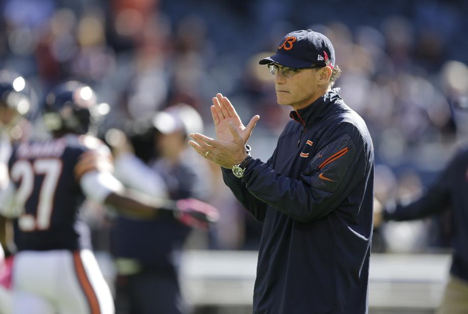 Chicago Bears head coach Marc Trestman watches his team before an NFL football game against the New Orleans Saints, Sunday, Oct. 6, 2013, in Chicago
