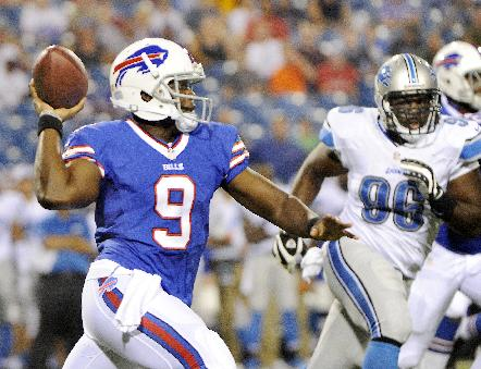 Buffalo Bills quarterback Thad Lewis (9) looks to throw downfield against the Detroit Lions during the second half of an NFL preseason football game Thursday, Aug. 29, 2013, in Orchard Park, N.Y