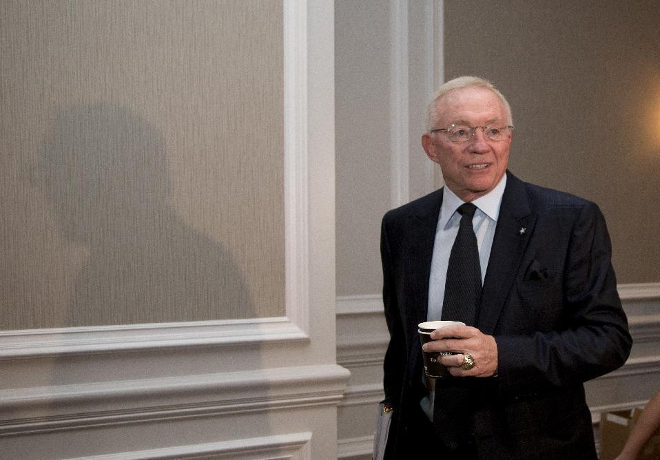 Dallas Cowboys football team owner Jerry Jones arrives for the NFL fall meeting in Washington, Tuesday, Oct. 8, 2013