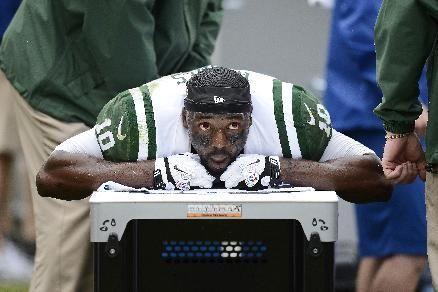 New York Jets wide receiver Santonio Holmes receives treatment on the sideline in the second quarter of an NFL football game against the Tennessee Titans on Sunday, Sept. 29, 2013, in Nashville, Tenn