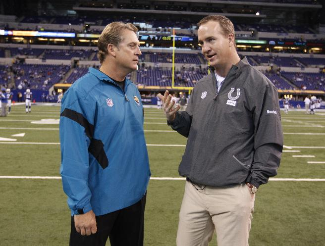 In this Nov. 13, 2011 file photo, Indianapolis Colts quarterback Peyton Manning, right, talks with Jacksonville Jaguars head coach Jack Del Rio before an NFL football game in Indianapolis. Del Rio, now the interim head coach for the Broncos, says it's imperative to be on the same page with his quarterback, Peyton Manning, although Denver's interim head coach is likely to follow in John Fox's footsteps in handing the offense to Manning and getting the heck out of the way
