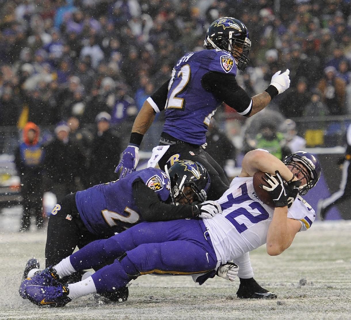 Minnesota Vikings running back Toby Gerhart, bottom right, falls into the end zone for a touchdown in front of Baltimore Ravens cornerbacks Corey Graham, bottom left, and Jimmy Smith in the second half of an NFL football game, Sunday, Dec. 8, 2013, in Baltimore