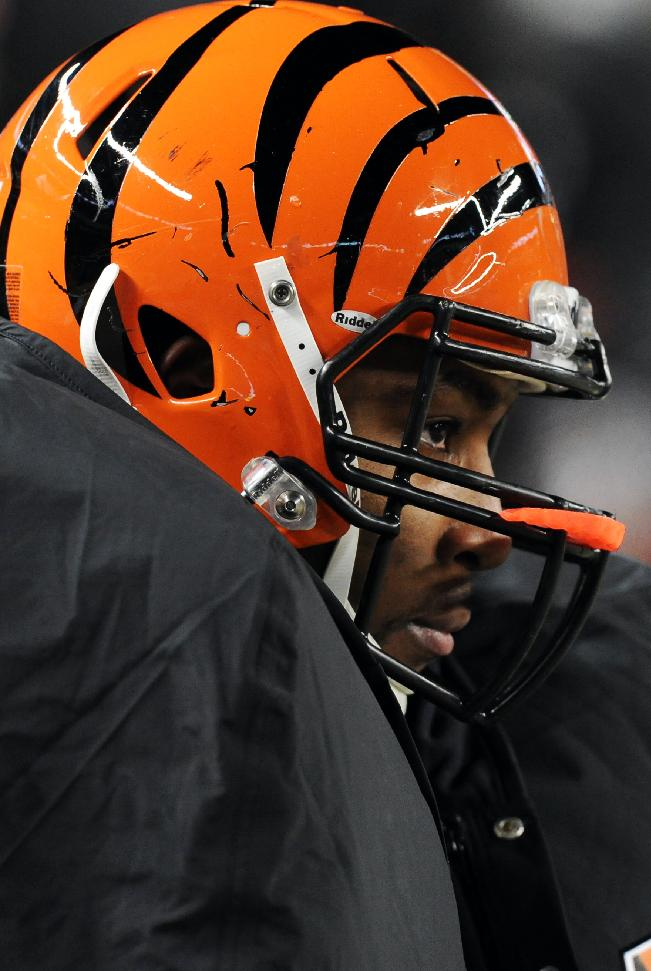 Cincinnati Bengals defensive tackle Devon Still watches from the bench as his team loses to the Pittsburgh Steelers in the second quarter of an NFL football game on Sunday, Dec. 15, 2013, in Pittsburgh. The Steelers won 30-20
