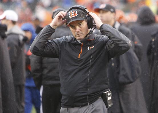 IN this Jan. 5, 2014 file photo, Cincinnati Bengals defensive coordinator Mike Zimmer adjusts his head set in the second half of an NFL wild-card playoff football game against the San Diego Chargers, in Cincinnati. The Minnesota Vikings have chosen Zimmer as their new head coach, according to multiple media reports. Zimmer will replace Leslie Frazier, who was fired after the team finished 5-10-1 this season