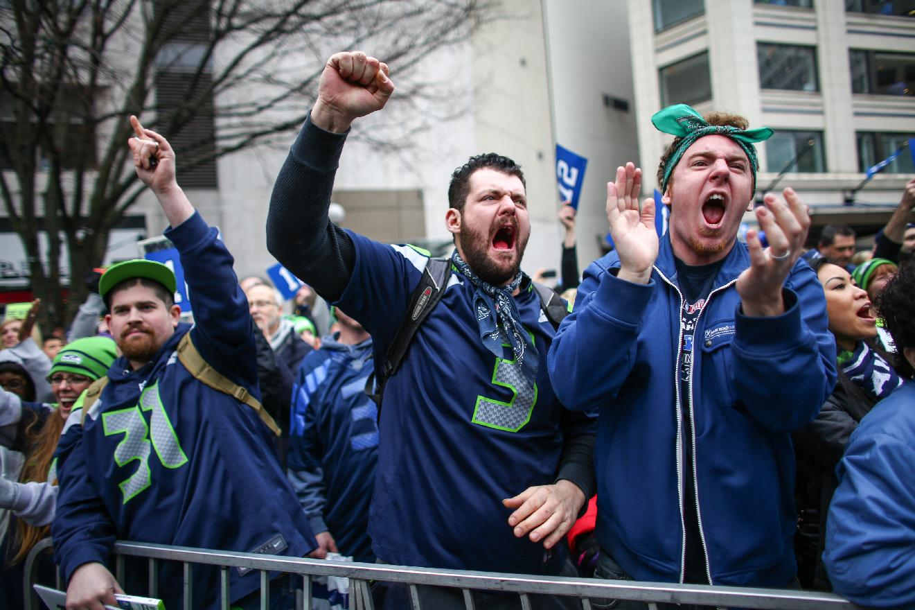 Seattle Seahawks fans participate in a rally for the NFL football team at Westlake Park on Friday, Jan. 17, 2014, in Seattle. The Seahawks play the San Francisco 49ers on Sunday for the NFC championship