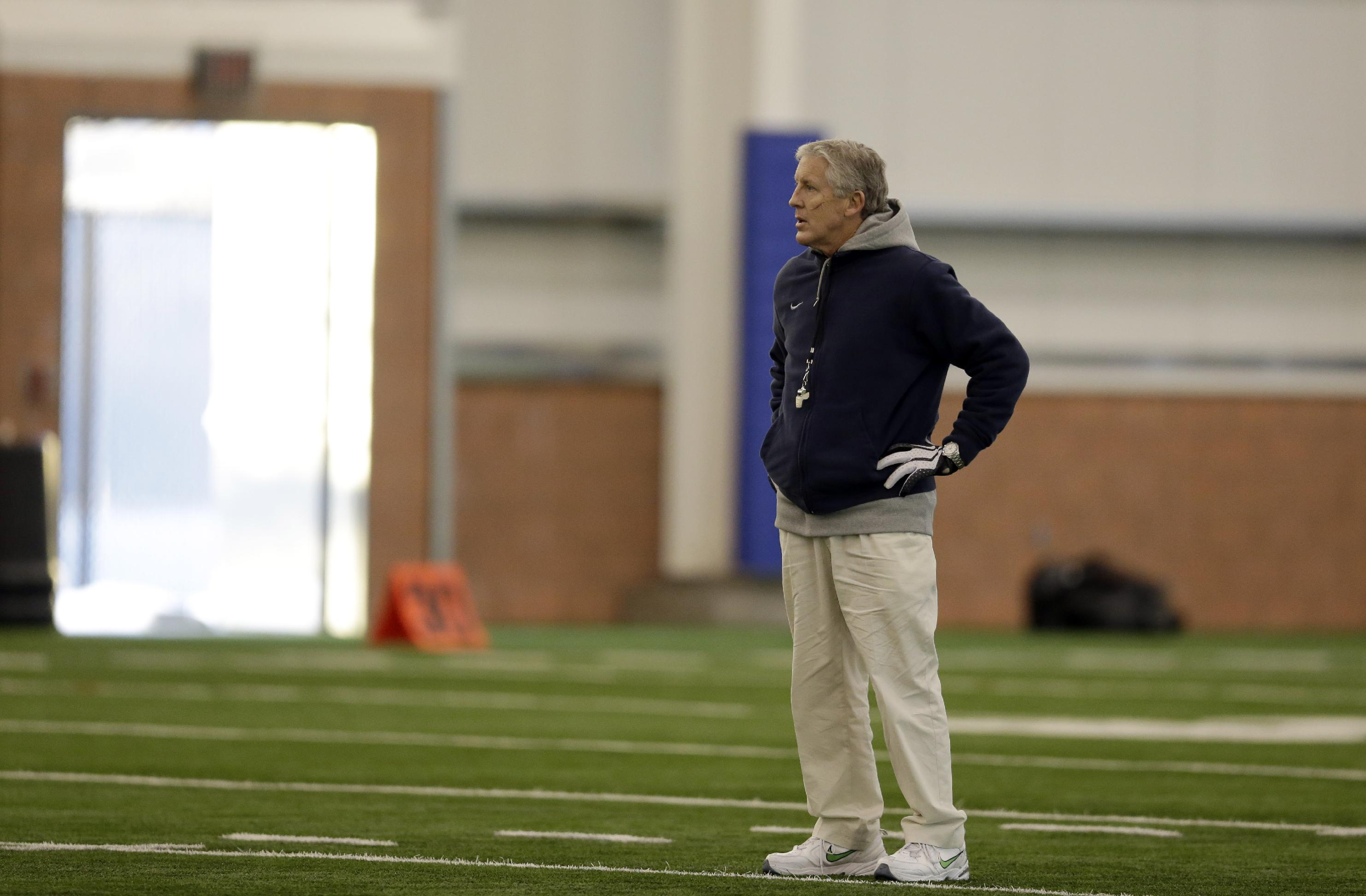 Seattle Seahawks head coach Pete Carroll watches his team warm up during NFL football practice Thursday, Jan. 30, 2014, in East Rutherford, N.J. The Seahawks and the Denver Broncos are scheduled to play in the Super Bowl XLVIII football game Sunday, Feb. 2, 2014. (AP Photo)
