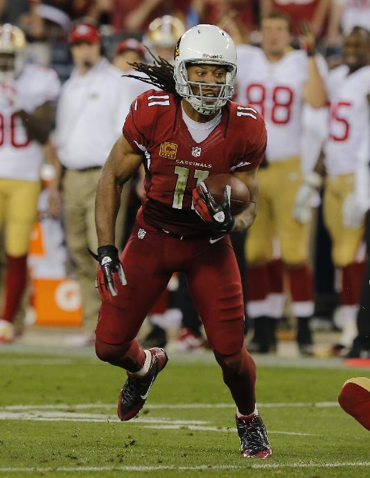 Arizona Cardinals wide receiver Larry Fitzgerald (11) against the San Francisco 49ers during the first half of an NFL football game, Sunday, Dec. 29, 2013, in Glendale, Ariz