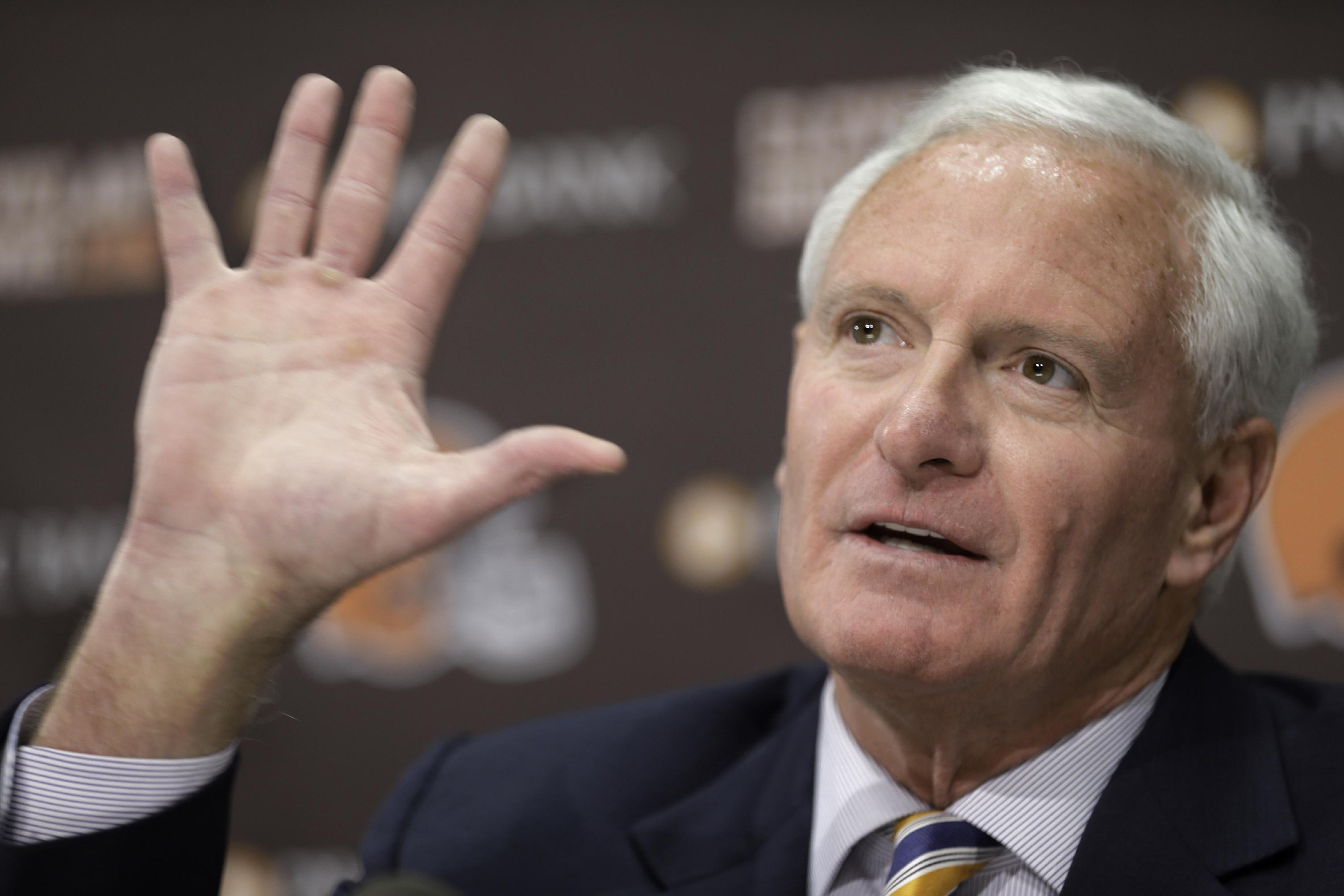 Cleveland Browns owner Jimmy Haslam answers questions during a news conference Tuesday, Feb. 11, 2014, in Berea, Ohio. Haslam announced Tuesday that CEO Joe Banner will step down in the next two months and general manager Michael Lombardi is leaving the team. Haslam added that president Alec Scheiner will continue to be in charge of the organization's business operations