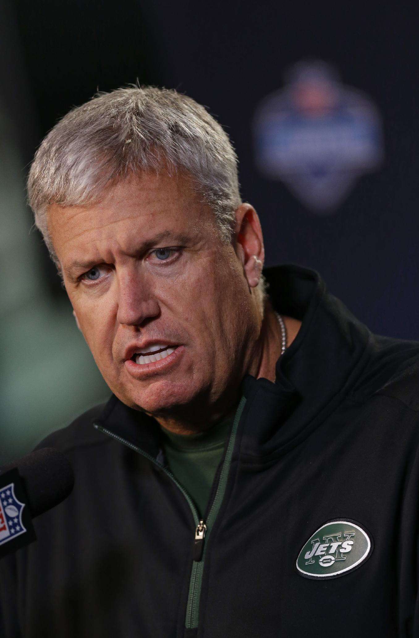 New York Jets head coach Rex Ryan answers a question during a news conference at the NFL football scouting combine in Indianapolis, Thursday, Feb. 20, 2014