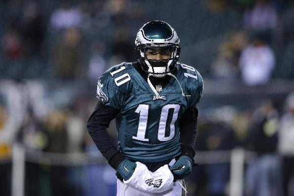 Philadelphia Eagles' DeSean Jackson is is seen during an NFL wild-card playoff football game against the New Orleans Saints, Saturday, Jan. 4, 2014, in Philadelphia