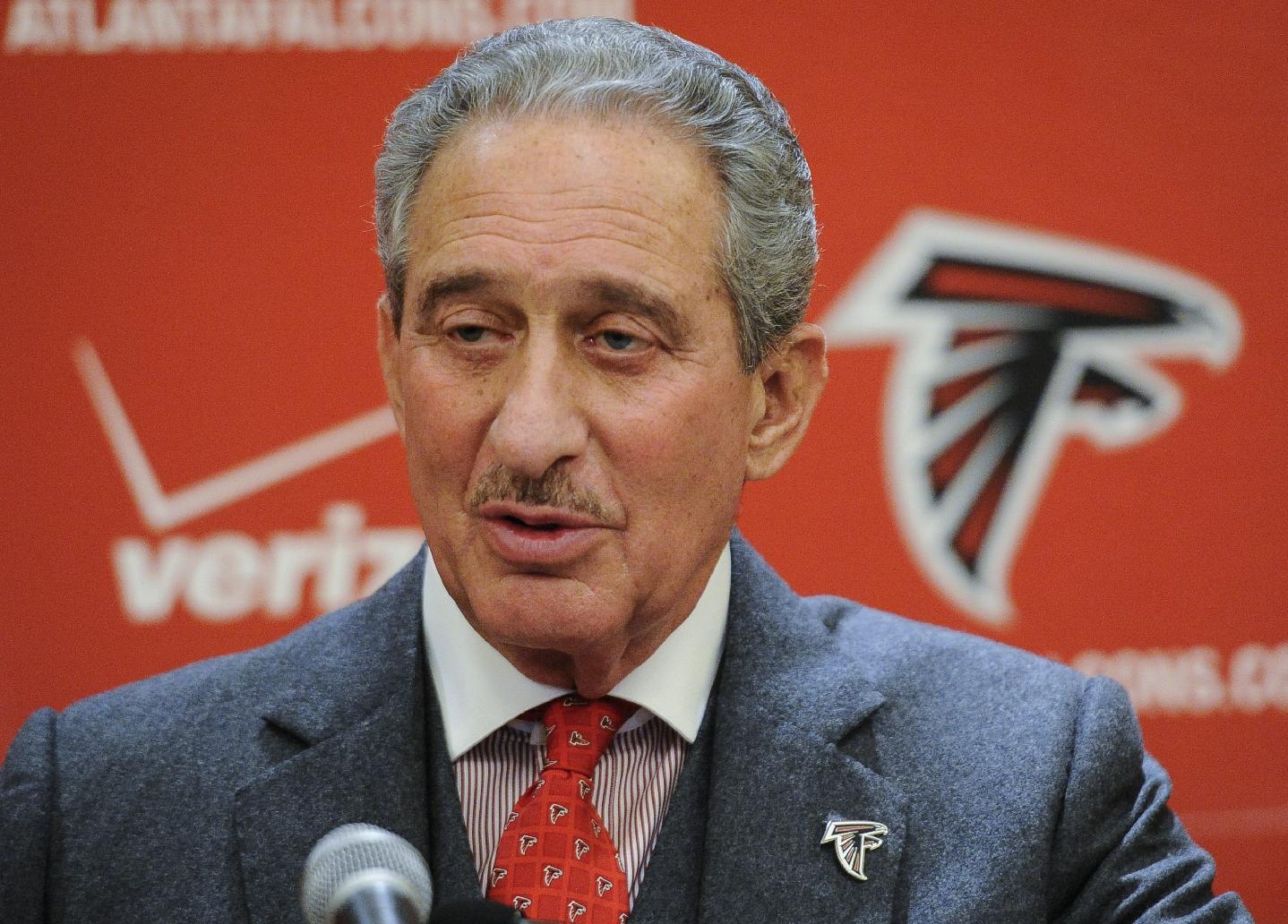 Atlanta Falcons owner & chairman Arthur Blank during an end of season press conference on Monday, Jan. 6, 2014, in Atlanta