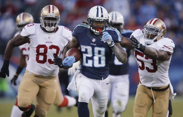 In this Oct. 20, 2013, file photo, Tennessee Titans running back Chris Johnson (28) runs ahead of San Francisco 49ers defenders Demarcus Dobbs (83) and NaVorro Bowman (53) on a touchdown reception in an NFL football game in Nashville, Tenn.  The New York Jets signed the former Titans running back Wednesday, April 16, a little over a week after he was officially released by Tennessee on April 7