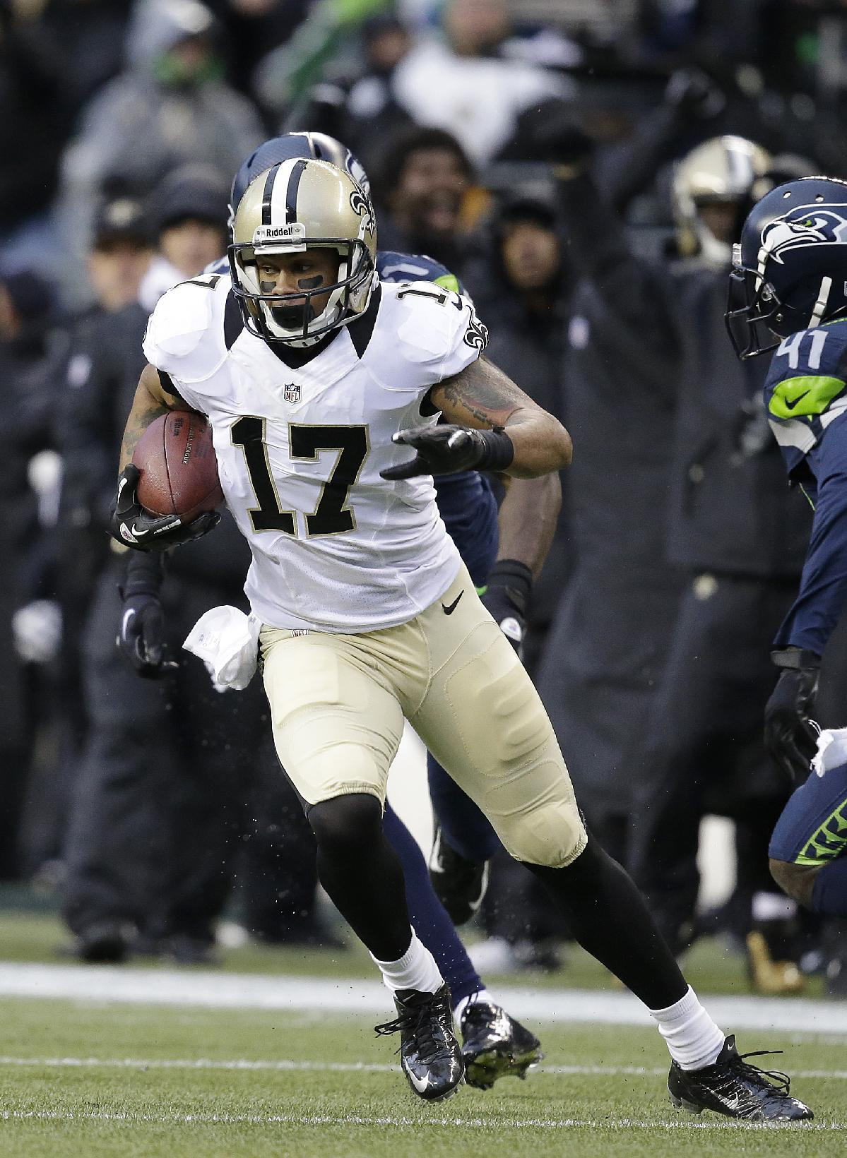 New Orleans Saints wide receiver Robert Meachem (17) against the Seattle Seahawks during an NFC divisional playoff NFL football game in Seattle, Saturday, Jan. 11, 2014